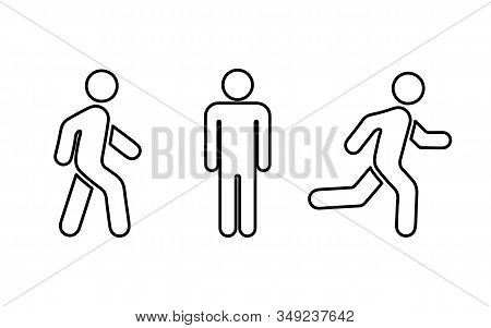People Symbol: Stands , Walk And Run, Thin Line Icons. Vector Illustration