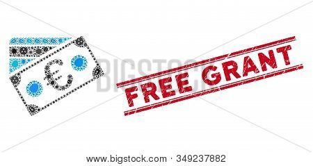Infection Mosaic Euro Banknote And Credit Card Icon And Red Free Grant Seal Stamp Between Double Par