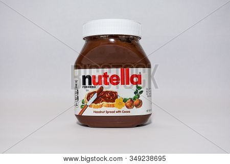 Orlando, Fl/usa-2/3/20: A Jar Of Nutella  Hazelnut Spread With Cocoa Isolated On A White Background.