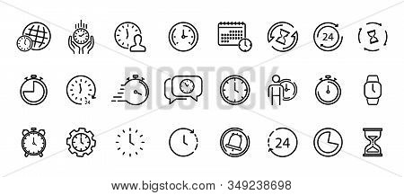 Time And Clock Thin Line Icons. Time Management, 24 Hour Clock, Deadline Alarm. Calendar, Clock, Tim