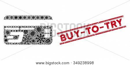 Contagion Mosaic Dash Bank Card Icon And Red Buy-to-try Seal Between Double Parallel Lines. Mosaic V