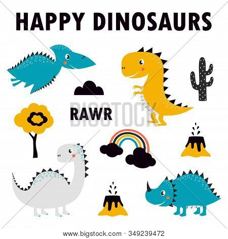 Set Of Cute Dinosaurs Isolated On White Background, Little Dinosaurs Vector Illustration For Kids Fa
