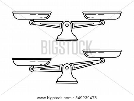 Set Of Scales. Bowls Of Scales In Balance, An Imbalance Of Scales. Libra, Vector Illustration. Line