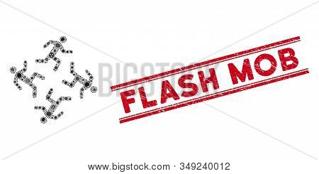 Pandemic Mosaic Running Men Icon And Red Flash Mob Seal Between Double Parallel Lines. Mosaic Vector