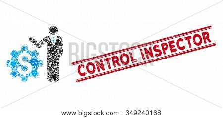 Contagious Mosaic Businessman Options Icon And Red Control Inspector Rubber Print Between Double Par