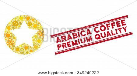 Contagion Mosaic Rounded Star Icon And Red Arabica Coffee Premium Quality Stamp Between Double Paral