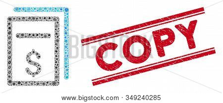 Outbreak Mosaic Price Copy Icon And Red Copy Seal Between Double Parallel Lines. Mosaic Vector Is De