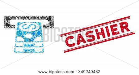 Virus Mosaic Bank Cashpoint Icon And Red Cashier Seal Between Double Parallel Lines. Mosaic Vector I