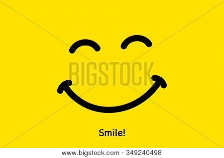 Smile Icon. Face Smiling Logo On Yellow Background. Smiling Emoticon Vector Illustration