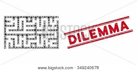 Virus Mosaic Labyrinth Icon And Red Dilemma Stamp Between Double Parallel Lines. Mosaic Vector Is De