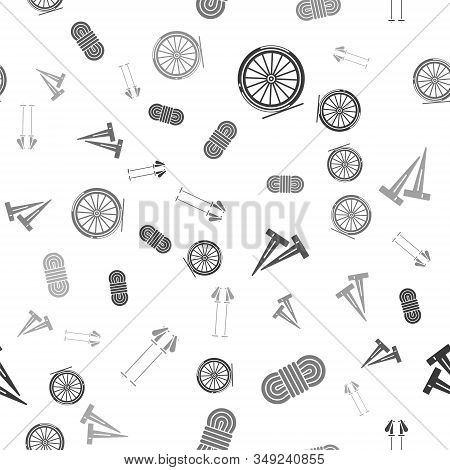 Set Bicycle Wheel, Climber Rope, Pegs For Tents And Ski Poles On Seamless Pattern. Vector
