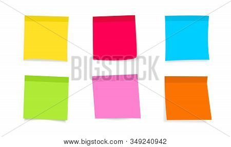 Post Note Sticker. Sticky Colored Notes With Curled Corner, Ready For Your Message. Front View. Coll