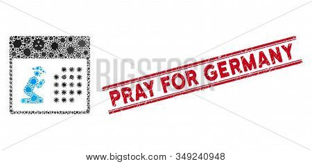 Contagion Mosaic Pray Calendar Icon And Red Pray For Germany Seal Between Double Parallel Lines. Mos