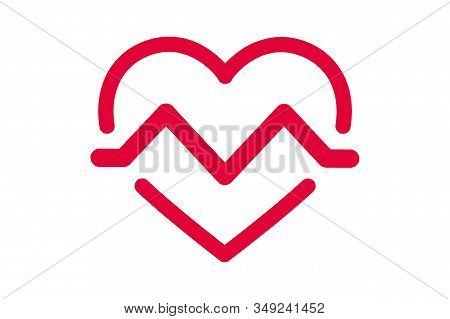 Heartbeat, Heartbeat Pulse Flat Vector Icon. Heart And Pulse Wave, Vector Logo Design Element For Me