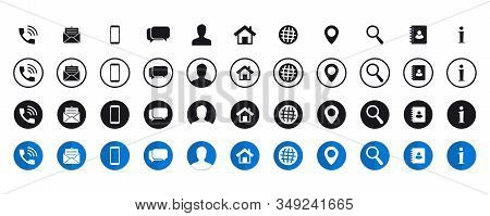 Business Card Icon Collection. Contact Information Icons Set. Web Icons Set. Bundle Set Of Contact U