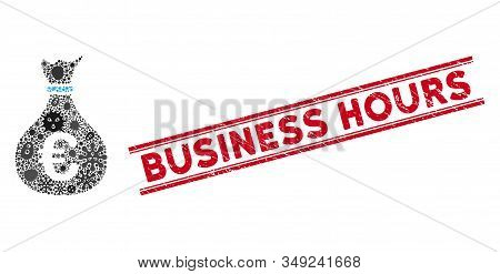 Microbe Mosaic Invest Icon And Red Business Hours Seal Between Double Parallel Lines. Mosaic Vector