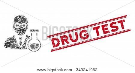 Viral Mosaic Chemist Icon And Red Drug Test Watermark Between Double Parallel Lines. Mosaic Vector I