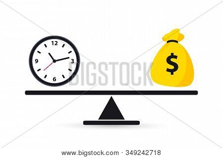 Time Is Money. Scale Weighing Money And Time. Money And Time Balance On The Scale. Business Concept.