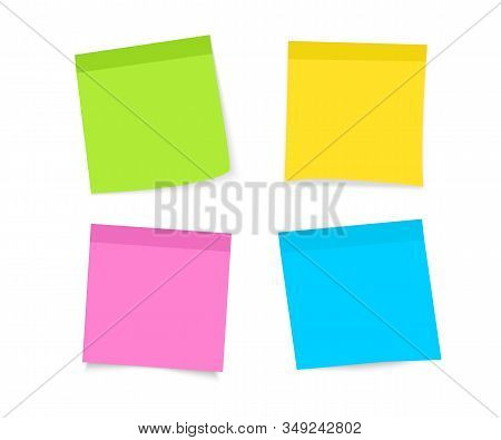 Post Note Sticker. Paper Sticky Note Piece. Set Of Multi-colored Stickers. Sticky Notes Paper. Colle