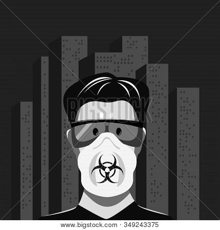 The Frightened Face Of A Man In Glasses And A Respirator Against The Background Of A Gray Lifeless C
