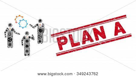 Flu Mosaic Plan Icon And Red Plan A Seal Between Double Parallel Lines. Mosaic Vector Is Created Wit