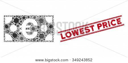 Infectious Mosaic Euro Banknote Icon And Red Lowest Price Stamp Between Double Parallel Lines. Mosai