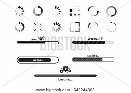 Big Set Load Icon. Progress Bar For Upload Download Round Process For Website. Set Of Loading Bar Ic