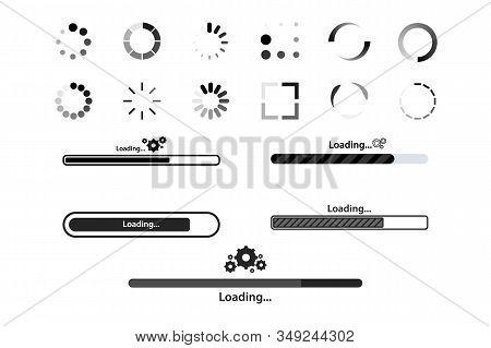 Big Set Load Icon. Progress Bar For Upload Download Round Process For Website. Set Of Loading Bar Ic
