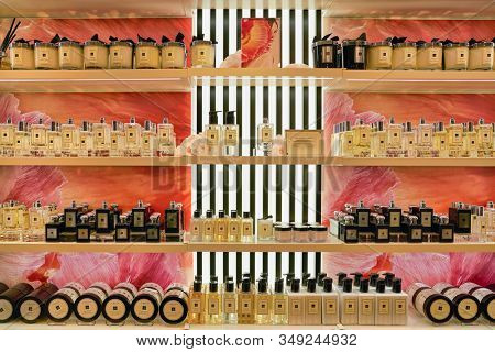 BERLIN, GERMANY - CIRCA SEPTEMBER, 2019: Jo Malone products on display at Galeries Lafayette in Berlin.
