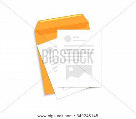 Contract Papers. Document, Business Report Or Agreement. Envelope With Document And Text. Business D