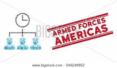 Flu Mosaic Time Army Icon And Red Armed Forces Americas Seal Stamp Between Double Parallel Lines. Mo
