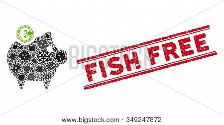 Infection Mosaic Euro Piggy Bank Icon And Red Fish Free Seal Stamp Between Double Parallel Lines. Mo
