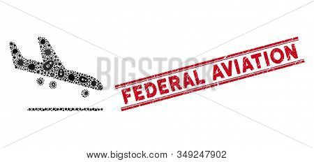 Contagious Mosaic Airplane Arrival Icon And Red Federal Aviation Seal Stamp Between Double Parallel