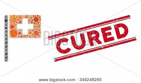 Infectious Mosaic Hospital Flag Icon And Red Cured Seal Between Double Parallel Lines. Mosaic Vector