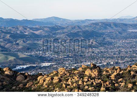 Rocky ridge mountaintop view of suburban Simi Valley near Los Angeles in Ventura County, California.