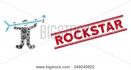 Contagious Mosaic Rock Concert Icon And Red Rockstar Seal Stamp Between Double Parallel Lines. Mosai