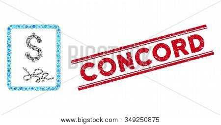 Flu Mosaic Invoice Page Icon And Red Concord Rubber Print Between Double Parallel Lines. Mosaic Vect