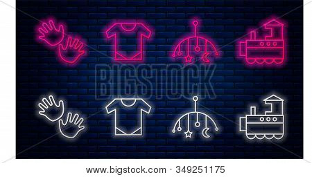 Set Line Baby Onesie, Baby Crib Hanging Toys, Baby Hands Print And Toy Train. Glowing Neon Icon On B