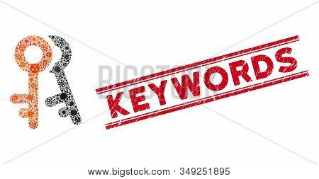Virus Mosaic Access Keys Icon And Red Keywords Stamp Between Double Parallel Lines. Mosaic Vector Is