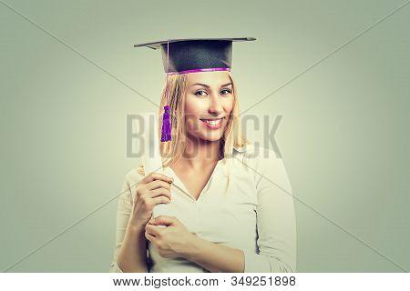Portrait Closeup Beautiful Smiley Latina Graduate Graduated Student Girl Young Woman In Cap Gown Sho