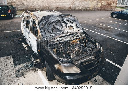 Strasbourg, France - Jan 1, 2020: Above View Of Burnt Car By Vandals In Strasbourg, France During Th