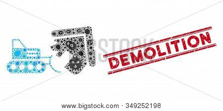 Contagious Mosaic House Demolition Icon And Red Demolition Rubber Print Between Double Parallel Line