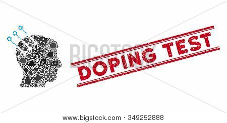Infectious Collage Neural Interface Connectors Icon And Red Doping Test Seal Stamp Between Double Pa