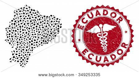 Vector Collage Ecuador Map And Red Rounded Distressed Stamp Watermark With Serpents Icon. Ecuador Ma