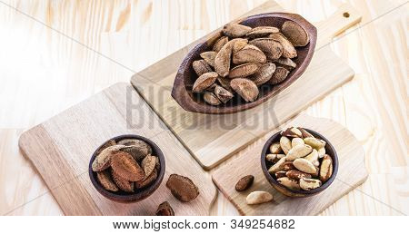 Brazil Nuts, Stuffed Shell, Shelled And Ready To Cook. Brazilian Cuisine. Chestnut Most Consumed By