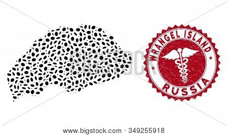 Vector Collage Wrangel Island Map And Red Round Rubber Stamp Seal With Medic Sign. Wrangel Island Ma
