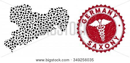 Vector Mosaic Saxony Land Map And Red Round Distressed Stamp Seal With Medical Icon. Saxony Land Map
