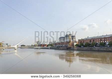 Puerto Madero, Buenos Aires Argentina. View Of The South Dock, Whith The Puente De La Mujer Bridge A
