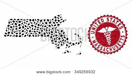 Vector Collage Massachusetts State Map And Red Round Corroded Stamp Seal With Medical Sign. Massachu