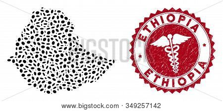 Vector Collage Ethiopia Map And Red Round Rubber Stamp Seal With Doctor Symbol. Ethiopia Map Collage
